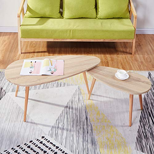 GOLDFAN Triangle Solid Wood Coffee Table Set Nest of 2 Tables Morden Sofa Coffee Side Table for Living Room Office Furniture