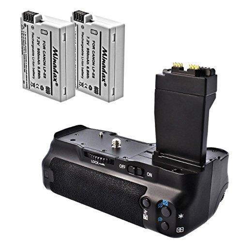 Meike Batteriegriff & 2 Akkus passend für Canon EOS 700D, 650D, 600D und 550D - Ersatz für BG-E8, LP-E8 in Originalqualität! inklusive 2x Akku Power