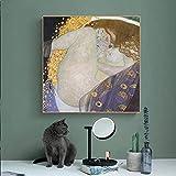Retrato de Danae Golden Wall Art Canvas de Gustav Klimt Pinturas en la pared Reproducción Cuadros Cuadros para sala de estar 30x30 CM (sin marco)