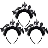 3 Piezas Diademas Brillo de Halloween Diademas de Murciélago Diademas de Halloween para Mujer y Niña Suministro de Disfraz
