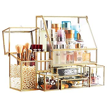Stackable 3Pieces Drawer Set Organizer/Glass Bathroom Organizer/Antique Countertop Vanity Cosmetic Storage Box/MirrorBeauty Display Holder for Brushes Lipsticks Skincare Toner  Gold