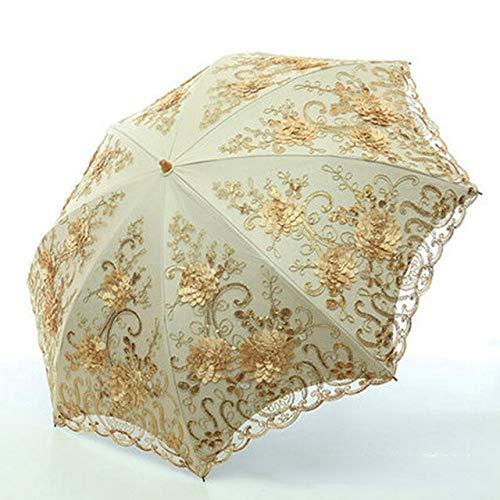 NJSDDB paraplu opvouwbare paraplu's paraplu regen vrouwen vouwen UV-bescherming paraplu Embroider Mode kant bumbershoot mode-print paraplu's, goud