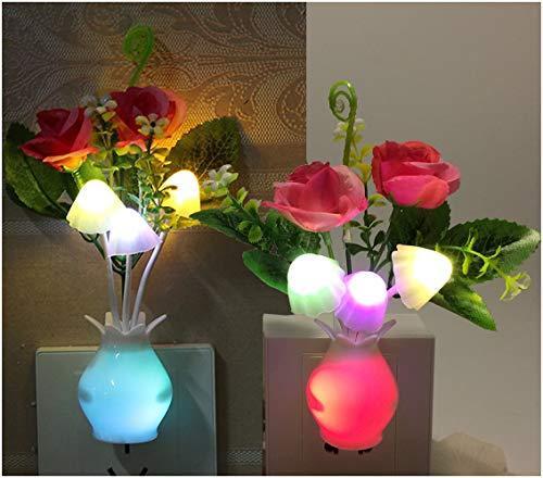 2Pack Plug in LED Night Light w/Auto Dusk to Dawn Sensor,AUSAYE 0.5W Energy Saving Lamp Dream Nightlight Rose Flower Mushroom Night Lights for Kids Adults Bedroom,Bathroom,Living Room,Kitchen,Hallway