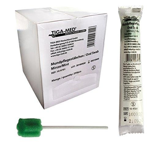 Mundpflegestäbchen Wattestäbchen Geschmack Minze Box a 250 Stck Mundhygiene Tiga-Med einzeln hygienisch verpackt