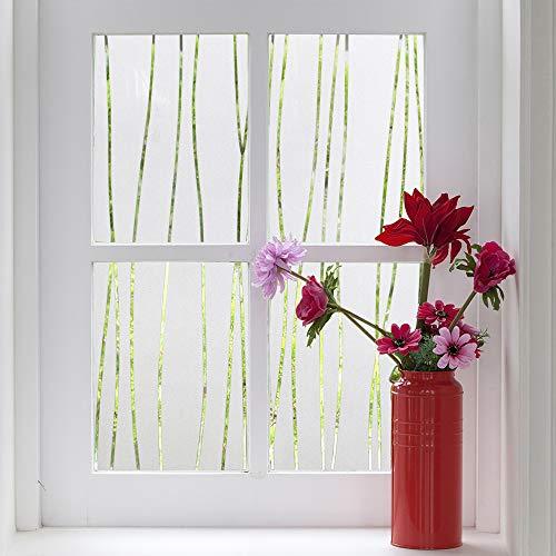 Finnez Pellicola per vetri Protezione della privacy Adesivi per finestre Decorazione Riduzione del calore Nessuna colla per l'home office Soggiorno Cucina (Motivo a strisce irregolari) (44.5 x 200 cm)