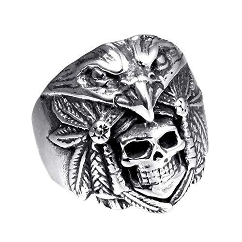 ZiFei Anillos, Hombres 316L Acero Inoxidable Punk Rock Hiphop Skull Eagle Indian Talla Joyería,12