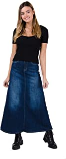 Long Denim Skirt - Stonewash Maxi Full Length Jean Skirt with Stretch