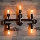 Lámpara industrial, Luz de pared retro de hierro, E27 Edison 5-Luz, Personalized DIY Creative Water Pipe Wall Sconence, Dormitorio Lámpara de pared decorativa de noche, Loft Retro Creative Restaurant