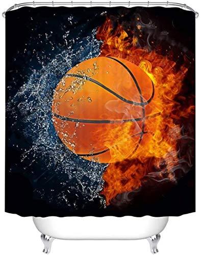 Juego de cortinas de ducha para decoración – Baloncesto en fuego y llama de agua – Cortinas de baño de tela de poliéster impermeables – 12 ganchos de ducha – 183 x 183 cm