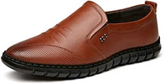 Dongxiong Please wear a simple, classic actual leather starve sucking Vamp casual loafers man stitch Oxford slip vegan burnishing style untidy in flat (Color : Brown, Size : 38 EU)