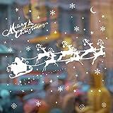 ASANMU Fensterbilder Weihnachten Fenstersticker 4 Stücke 43 * 30 cm Wiederverwendbare Winterliche Fenster Aufkleber Wandtattoo PVC-Sticker Schneekristallen und Schneesternen (Weihnachtshirsch) - 3