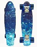 SKILEC Skate Completo Monopatín Principiantes Estrellado Ruedas PU - Skateboard Niño 22 Pulgadas, 57 cm Monopatín Niños Patinete Rodamientos Penny Board Adulto Adolescente Joven (Azul Estrellado)