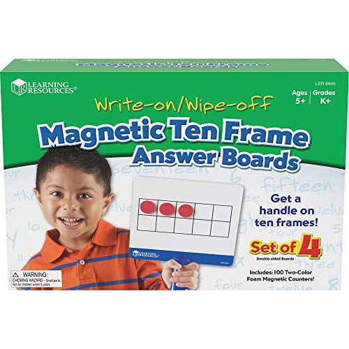 Learning Resources Magnetic Ten-Frame Answer Boards, Set of 4 with 100...
