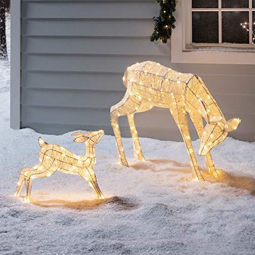 Lights4fun Cierva y Cervato Luminosos de Navidad en Hilo Brillante con LED Blancos Cálidos para Exteriores