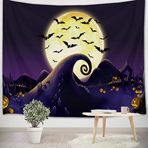 LB Halloween Tapiz Pesadilla Antes de Navidad Tapiz Pared Luna Llena,Calabaza,murciélagos Negros Tapiz Colgar...
