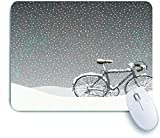 Aliciga Gaming Mouse Pad Rutschfeste Gummibasis,Fahrrad bedeckt mit Schnee kaltes Wetter saisonale ruhige Landschaft Weihnachten inspiriert Blumen,für Computer Laptop Office Desk,240 x 200mm