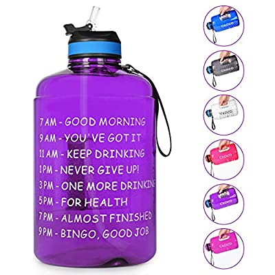 Opard Gallon Water Bottle with Time Marker Straw and Handle 128oz 1 Gallon Water Jug BPA Free Motivational Big Large Sports Water Bottle for Gym Fitness (Purple)