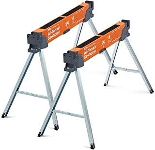 Bora Portamate All-Terrain Sawhorse Pair – Two Pack, Tap to Adapt Swivel Leg for Stability on Uneven Surfaces. Folding Saw...