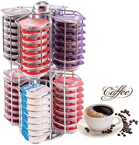 JUEYAN® Soporte para Cápsulas de Café de Acero Inoxidable para 64 cápsulas de Café Nespresso,360 Grados Soporte Giratorio de Cápsulas Accesorios de la Mesa Cocina,Plateado