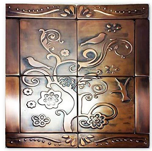 SET OF 12 COPPER TILES, Birds tiles, copper backsplash, copper kitchen, copper wall art
