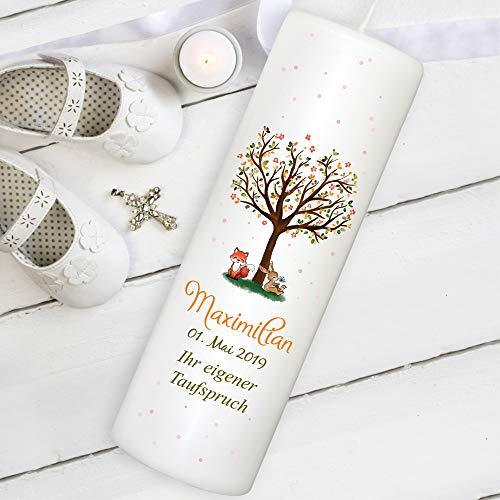 Wandtattoo Loft Taufkerze Kerze zur Taufe oder Kommunion Baum Hase Fuchs individualisierbar personalisiert / / mit eigenem Taufspruch