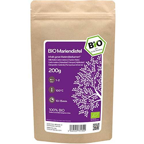 amapodo Bio Mariendistel Tee lose 200g Mariendistelsamen ganz für Mariendisteltee