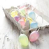Lights4fun Catena Luminosa Decorativa di Pasqua 10 Uova Color Pastello con LED Bianchi Caldi a Pile per Interni
