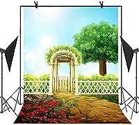 HD7X10ft庭の写真の背景緑の植物の花の木の背景をテーマにしたパーティーの写真ブースYouTubeの背景SHMT014
