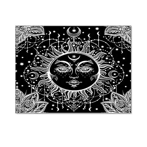 SHINROAD Wall Tapestry Tarot Tapestries, Wall Art Decor, Sun and Moon Tapestry Wall Hanging Decor Black and White Mystic Psychedelic Blanket for Living Room Bedroom 130 * 150cm