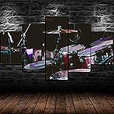 Cuadros Impresos En Lienzo Que Brillan En La Oscuridad 100X55Cm 5 Piezasbatería Set Kit Instrumento Musical Premium Lienzo De Tejido No Tejido Xxl