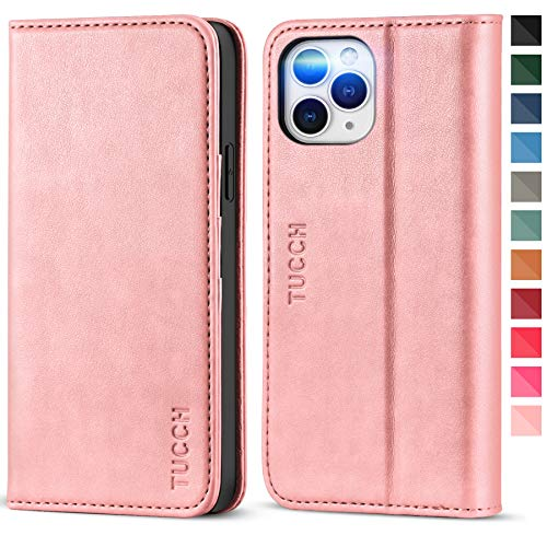 TUCCH iPhone 12 Pro Max Wallet Case, Premium PU Leather Folio Case with [Kickstand] [Card Slot] Flip Notebook Cover [Protective TPU Interior Case] Compatible with iPhone 12 Pro Max 6.7-inch, Rose Gold