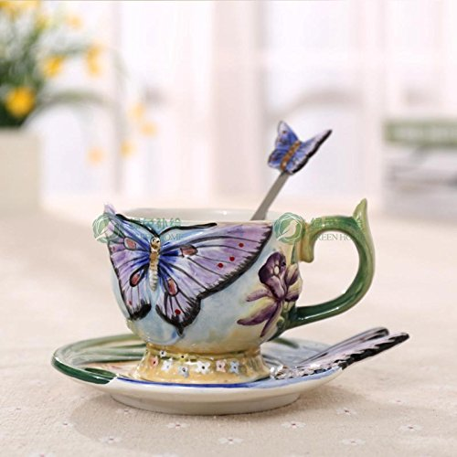 Copa De Vino Taza De Café Tazaeuropean Style Ceramic Hand-Painted Butterfly Coffee Cup 3D Colored Enamel Porcelain Cups With Saucer An