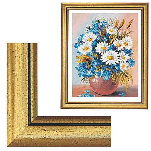 RAABEC Bilderrahmen, für Bilder der Größe 40x50cm, Farbe Gold Antik, ideal für Malen nach Zahlen Bilder von Schipper oder Ravensburger (ohne Glas)