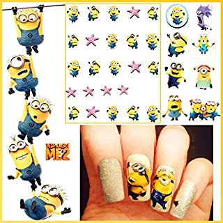 12 sets Bannana minions toy cartoon NAIL DECALS stuart minion goggles water transfer nail minion stickers natural manicure acrylic nail accessories nail vinyls French tip stickers