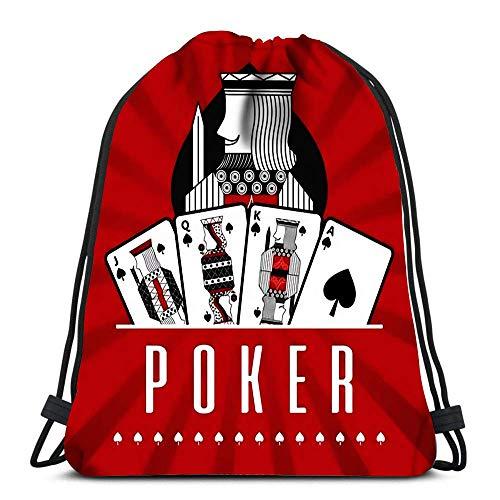 Valender Kordelzug Rucksack Kartenspiel Casino Poker King Spade Red Rays Daypack Schuhbeutel