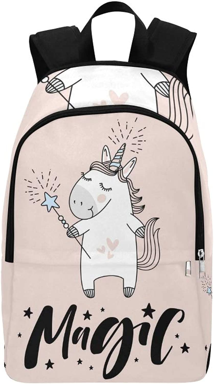 Cute Unicorn Magic Hand Lettering Sign Casual Daypack Travel Bag College School Backpack for Mens and Women