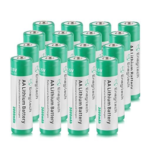 AA Lithium Battery 16 Pack, Enegitech 3000mAh 1.5V Double A Long-lasing Li Ion Battery Non-Rechargeable - Flashlight - Solar Lights - Remote Control