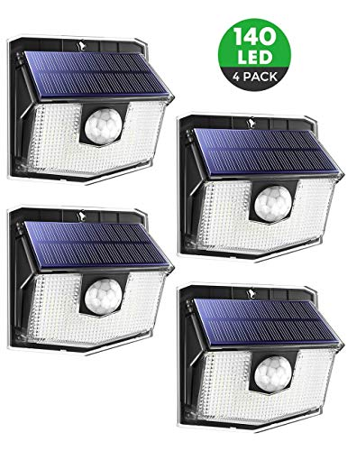 140 LED, Solarlampen für außen,270 °Weitwinkel, 120° Bewegungsmelder, IP67 Wasserdicht, solarlampen für außen mit bewegungsmelder,led solar für Garage,Hoftür,Einfahrt,Treppen - 4 Stück