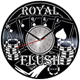 Poker Vinyl Wall Clock - Home Decor Him Her Birthday Christmas Anniversary - Themed Clock for Home Decor - Kids Living Room Kitchen Wall Art - 12 Inches
