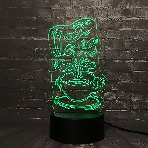 Coffee Shop Liebe Kaffee Nachtlicht 3D LED USB Tischlampe Kinder Geburtstagsgeschenk Nachtzimmer Dekoration