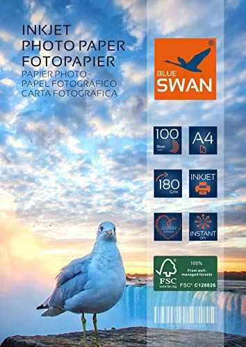 BLUE SWAN 100 Blatt Fotopapier A4, 180g/qm, highglossy (hoch-glaenzend) - wasserfest-hochweiß-hohe Farbbrillianz, Fuer Inkjet Drucker (Tintenstrahldrucker)
