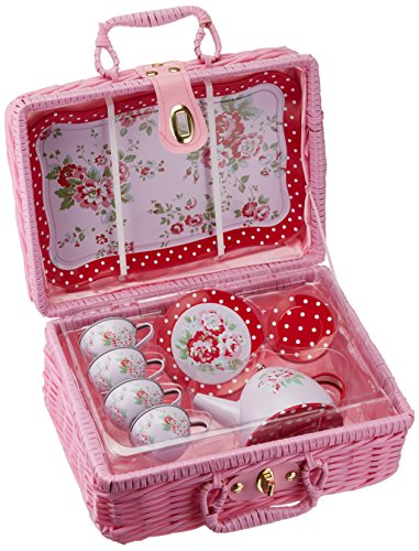 Delton Products Children#039s Tin Tea Set with Roses amp Polka Dots