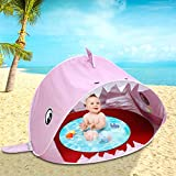 Migugu Baby Beach Tent Pool with Pool, 2021 Upgrade Easy Fold Up&Pop Up Unique Ocean World, Shark Pop Up Portable Sun Shelter Tent with Pool UPF 50+ UV Protection, Baby Pool Tent