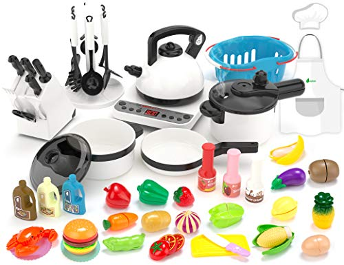kidpar-52pcs-kitchen-play-toykids-pretend-cooking-kit-with-cookware-playset-steam-pressure-pot-and-electronic-induction-cooktopchefs-aprontoy-cutleryxmas-holiday-learning-gift-for-girls-boys