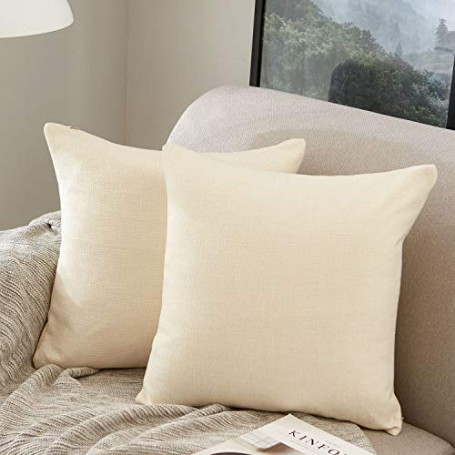 MERNETTE Pack of 2, Cotton Linen Blend Decorative Square Throw Pillow Cover Cushion Covers Pillowcase, Home Decor Decorations for Sofa Couch Bed Chair 16x16 Inch/40x40 cm (Cream)