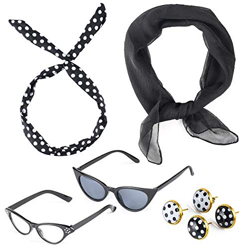 Beelittle 50's Costume Accessories Set 1950's Chiffon Scarf Cat Eye Glasses Bandana Tie Diadema Drop Dot Pendientes (Negro)