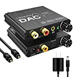 192KHz Digital to Analog Audio Converter with Bass and Volume Adjustment,Digital SPDIF/Optical/Toslink/Coaxial to Analog...