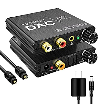 192KHz Digital to Analog Audio Converter with Bass and Volume Adjustment,Digital SPDIF/Optical/Toslink/Coaxial to Analog Stereo L/R RCA and 3.5mm Jack Converter for PS3 PS4 DVD AppleTV Home Cinema
