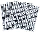 infactory 3D Fliesenaufkleber Bad: Selbstklebende 3D-Mosaik-Fliesenaufkleber Dezent 26 x 26 cm, 3er-Set (Selbstklebende Mosaik Folie)