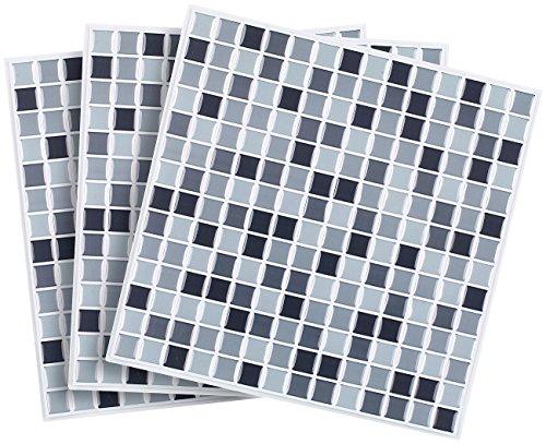 infactory 3D Fliesenaufkleber Bad: Selbstklebende 3D-Mosaik-Fliesenaufkleber Dezent 26 x 26 cm, 3er-Set (Mosaik Folie selbstklebend)